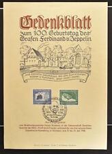 GERMANY 1938 Cpl Airship Set on Graf Zeppelin Memorial Leaf + special Postmark