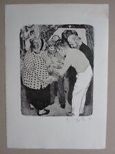 Johannes Grützke, Der Künstler wäscht sich aus, Lithografie, 1997, handsigniert