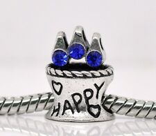 Happy Birthday Anniversary Blue Rhinestone Cake Bead for European Charm Bracelet