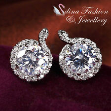 18k White Gold Plated Simulated Diamond 2.0 Ct Studded Halo Snake Stud Earrings