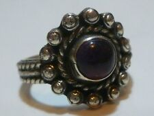 "DESIGNER ""NM"" MEXICO MEXICAN STERLING SILVER MODERN AMETHYST RING BAND SOUTHWEST"
