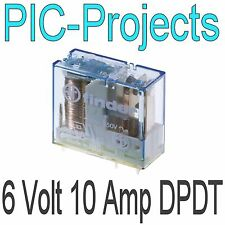 6V Relay coil 10 Amp contacts Double pole change over 10A volt Power PCB mount