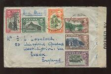 CEYLON KG6 1945 CENSOR COVER 6 COLOUR PICTORIAL FRANKED