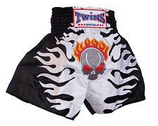 Boxing Shorts Thai Muay Thai Twins Skull White Polyester Satin