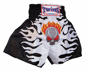 Boxing Shorts Thai Muay Thai TWINS Skull White Polyester Satin