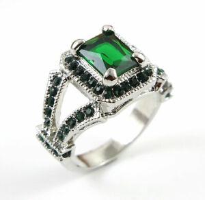 Vintage Betsey Johnson Princess Cut green Stone White Colour Lady's Ring Size  9