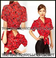 BNWT Fred Perry Amy Winehouse Red Paisley Bandana Crop Tie Blouse Shirt UK 12 14