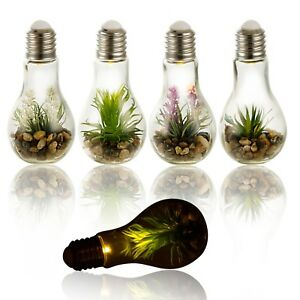 LED Light Artificial Plant In Hanging Glass Bulb Pot Decor Lighting Terrarium
