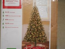 Christmas Tree 6.5 FT 6 1/2 FT PRE-LIT Madison Pine 400 Clear Lights NEW