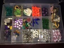 Lot Mixed Beads Jewelry Vintage Pieces 17 Compartment Case Arts Crafts