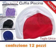 Set 12 Pezzi Cuffia Piscina Mare Nuoto Colorate Taglia Unica moc 0324f224f171