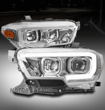 PROJECTOR SEQUENTIAL HEADLIGHT LAMP CHROME FOR 16-18 TOYOTA TACOMA [W/O LED DRL]