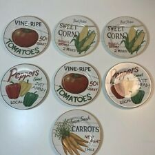 "Set of 7 The Sakura Table 8"" Ceramic Plates Farm Stand Vegetables Tomato Pepper"