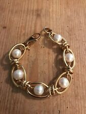 """Honora Cultured Pearl Oval Link Bronze Bracelet ITALY 8"""""""