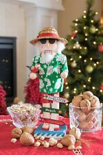 Nutcracker Figures Christmas Wooden Beach Santa Claus Wearing Hawaiian Shirt 14""