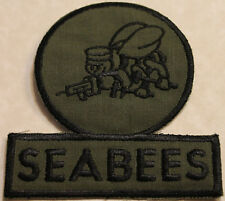 Construction Battalion Subdued Seabee Navy 1980s Green Fatigues Patch / CB