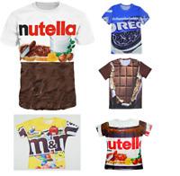 New Chocolate Pack Oreo Nutella Milk M&M Funny T-shirt Unisex 3D Print S-7XL