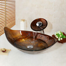 Brown Leaf Tempered Glass Bathroom Basin Vessel Sinks Waterfall Mixer Faucet Set