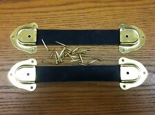 Antique Trunk Hardware-2 Leather Trunk Handles-4 Metal End Caps-Nails-H