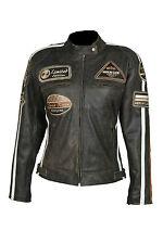 Blouson pour femmes veste VINTAGE moto en cuir STYLE HARLEY NEUF Taile 36-44