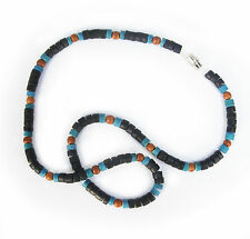 Coral Choker Southwestern Surfer  Necklace Blue, Green, Black w/ Wood Beads