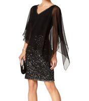 Jkara Womens Dress Black Size 16 V-Neck Beaded Chiffon-Overlay Sheath $259- 701