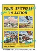 OLD LARGE MILITARY POSTER BRITISH RAF WWII SPITFIRE AIRCRAFT FUND TRINIDAD c1940