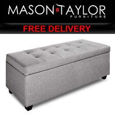 Mason Taylor Faux Linen Ottoman Storage Box Foot Stool Large OTM-L2-LINEN-LI-GY