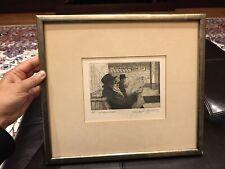 JOHN JOSEPH GERASIMCHIK signed etching Print 1977 The Rabbi and Grandson Framed
