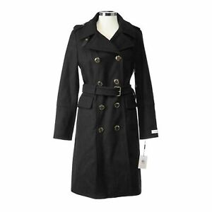 Losait Women Double-Breasted Luxury Mid-Length Solid Side Split Wool Trench Coat