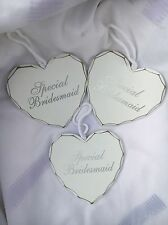 "3 X ""SPECIAL BRIDESMAID"" HEART SHAPED PLAQUES  WHITE 11cmX11cm/cord 10 cm"