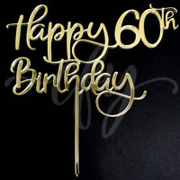 Happy 60th Birthday Cake Topper Acrylic Rose Gold Silver Mirror Black Glitter FD