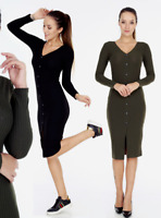 MIDI LONG SLEEVE DRESS RIBBED WOMENS KNITTED BUTTONED DOWN BODYCON S TO XL