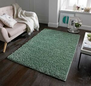 Modern Elsa Sage Green Soft Pile Shaggy Rug in various sizes