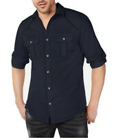 INC Mens Shirt Blue Size Small S Button Up Roll Tab Sleeves Dual Pocket $49 #011