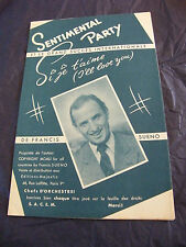 Partition sentimental Party Si je t'aime Francis Sueno  Music Sheet 1961