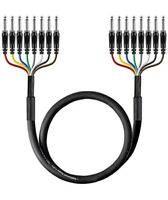 "6ft 8-Channel 6.35mm 1/4"" inch TS Male to 1/4"" TS Male Pro Audio Snake Cable"