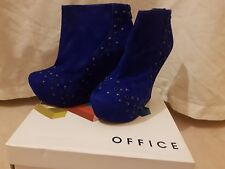 Brand New Womens Office Blue Wedge Suede Ancle Boots High Heels size 6 (EUR 39)