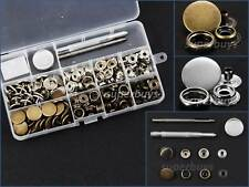 50 Sets 17mm Silver Brass Snap Buttons Fasteners Press Rivet Stud Clothing Kit