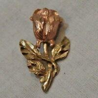 Vintage 10K Yellow & Pink Gold Rose Flower Charm or Pendant