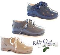 Patent Spanish Children's Boys Brogue Shoes Grey Navy Cream Size 4 8 9 10 11 12