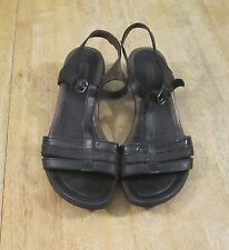 Ecco T-Strap Black Leather Ankle Strap Sandals Womens Sz.40/ 9