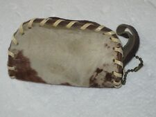 Vintage Cowhide Zipper Change Purse Fur Hair