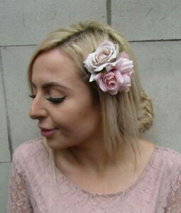 Triple Blush Pink Beige Light Nude Flower Hair Clip Fascinator Rose Floral 0157