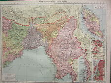 1940 MAP ~ INDIA NORTH-EAST with BURMA MALAY STATES DELHI CALCUTTA CITY PLANS