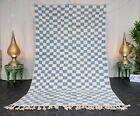"Handmade Moroccan Beni Ourain Rug 5'1""x8' Checkered Berber White Blue Wool Rug"