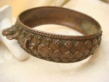 CHINESE THAI ANTIQUE BRONZE BANGLE BRACELET VERY OLD HIGH RELIEF HANDCRAFTED