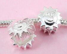 10pcs Silver SUN Smiling Clip Lock Stopper Beads Fit European Charm Bracelet K1