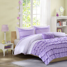 BEAUTIFUL COZY RUFFLE PURPLE LAVENDER POLKA DOT COMFORTER SET FULL QUEEN SZ