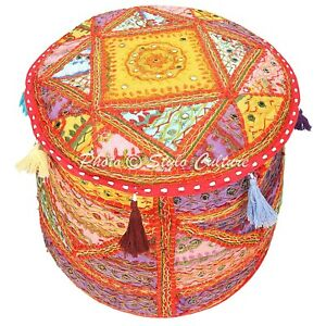 """Ethnic Round Pouf Cover Embroidered Patchwork Mirrored Ottoman Bohemian 18"""""""